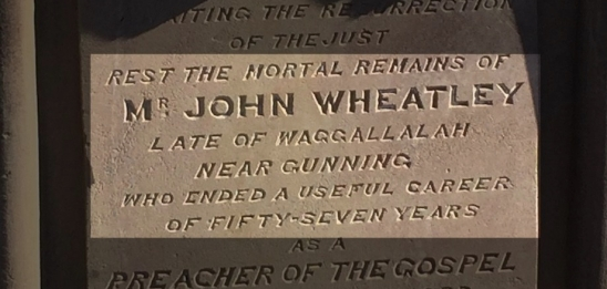 Headstone of John Wheatley at Gunning Cemetery