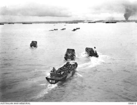 LVT 4's carrying troops to Lingkas Beach